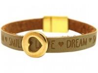 Gemshine Damen Armband Herz Liebe WISHES Braun Sand