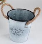 Dekorativer Zinkeimer rund, 17 cm mit Seilgriffen
