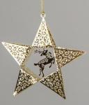 Deko-Hänger Stern aus goldfarbenem Metall mit Rentier, 10 cm