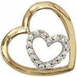 Anhänger Herz 585 Gelbgold 16 Diamanten Brillanten 0, 12 ct.