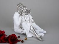 Sitzendes Paar in Weiß Silber, 27 cm