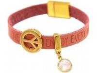 Damen Armband Frieden Peace WISHES Rosenquarz Rosa Pink