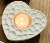 GILDE Deko Herz als Teelichthalter in Weiß aus Porzellan 12 cm