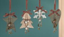 GILDE weihnachtliche Dekohänger aus Naturholz 10 x 14 cm