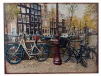 Nostalgisches Wandbild Fahrrad mit 3D Effekten, 60 x 45 cm