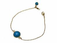 Armband Vergoldet Türkis Blau Facettiert 19 cm