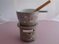 Fondue-Set Ornamente aus Keramik