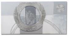 Wandbild aus Holz in Silbergrau mit Kreisen , 30 x 60 cm