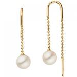 Durchzieh-Ohrhänger 585 Gelbgold 2 Süßwasser Perlen Ohrringe