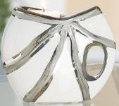 GILDE Teelichthalter aus Keramik in Platin Weiß, mit Struktur, 10, 5 cm
