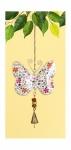 Hängedeko Schmetterling aus Metall, weiß mit roten Blümchen, 23 cm