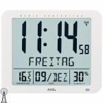 AMS 5886 Wanduhr Tischuhr Funk digital weiß Datum Thermometer