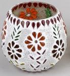 formano Windlicht Mosaik-Glas Multicolor Blume oval 10 cm