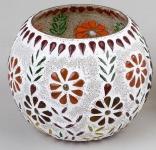 formano Windlicht Mosaik-Glas Multicolor Blume 12 cm