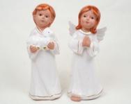 Dekofiguren Engel mit Schaf und betend, 15 x 7 x 12 cm im 2er Set