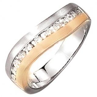 Damen Ring 585 Weißgold Gelbgold bicolor matt 11 Diamanten Brillanten