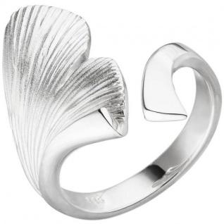 Damen Ring Ginko Ginkgo offen 925 Sterling Silber mattiert Handarbeit