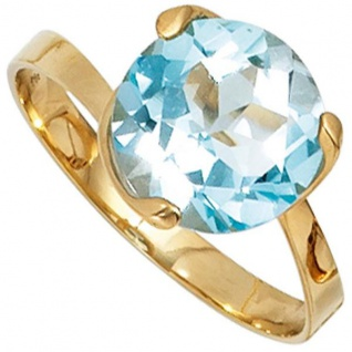 Damen Ring 585 Gold Gelbgold 1 Blautopas hellblau blau Topasring