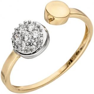 Damen Ring offen 375 Gold GelbWeißgold bicolor 7 Zirkonia