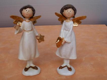 Stehender Engel mit einem Stern im Porzellan-Look 20 cm