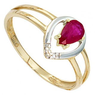 Damen Ring 585 Gold Gelbgold bicolor 1 Rubin rot 3 Diamanten Brillanten