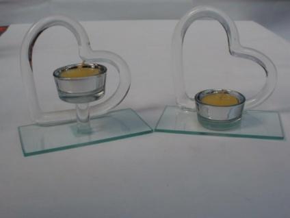 Teelichtleuchter Herz aus Glas