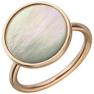 Damen Ring 925 Sterling Silber rotgold vergoldet 1 Perlmutt-Einlage