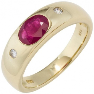 Damen Ring 585 Gold Gelbgold 1 Rubin rot 2 Diamanten Brillanten