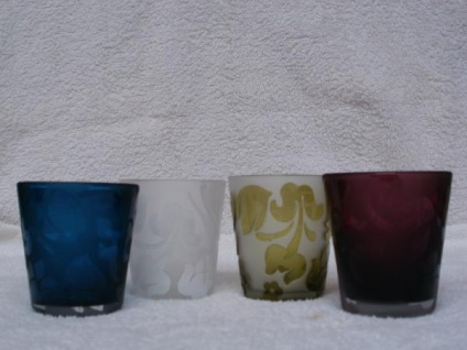 Votivglas Ornamente in 4 Farben, ca. 7 cm hoch
