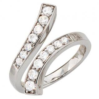Damen Ring offen 925 Sterling Silber rhodiniert 14 Zirkonia Silberring
