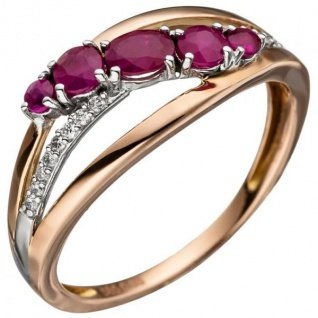 Damen Ring 585 Rotgold 5 Rubine rot 16 Diamanten Brillanten