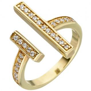 Damen Ring offen 925 Sterling Silber gold vergoldet 30 Zirkonia