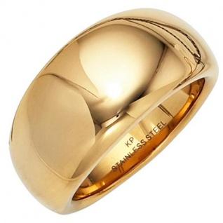 Damen Ring breit Edelstahl gold farben beschichtet