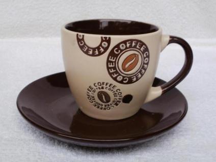 1 Tasse mit Untertasse in Braun oder Dunkelbraun