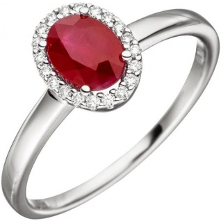 Damen Ring 585 Weißgold 20 Diamanten Brillanten 1 Rubin rot