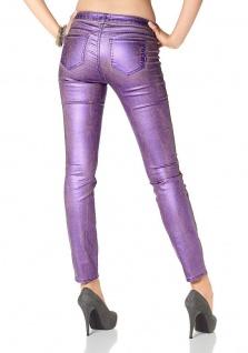 Laura Scott Damen Röhrenhose Hose Jeans Glanz Röhre Stretch lila 686180 - Vorschau 2