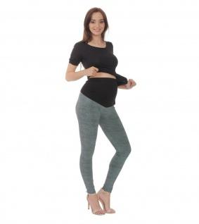 Umstand Hose Leggings lang Bauch gekämmte Baumwolle Muster-5-Grün-Meliert