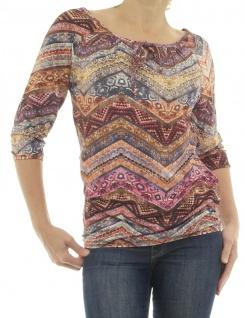 Heine Druckshirt 3/4 Arm Shirt Bluse Tunika Zickzack Muster bunt Gr. 34 027443