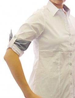 Damen Bluse Hemd Langarm Shirt Tunika Business Weiss Baumwolle 349 - Vorschau 2