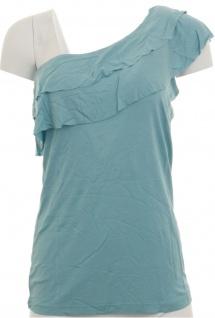 Buffalo Damen Shirt Volant One Shoulder Top Tunika Viskose blau 467492 - Vorschau