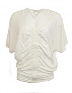 Heine Damen Oversize Shirt Bluse Tunika T-Shirt Raffung Pailletten weiß 040720