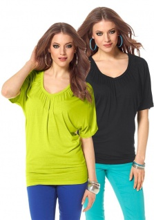 Laura Scott Damen Shirt Bluse Tunika T-Shirt Fledermausärmel Doppelpack 216071