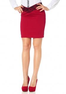 Melrose Damen Pencilskirt Bleistiftrock Skirt Rock kurz Spitze rot 393314