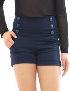 Shorts hoher Bund mit Taschen seitlich Taille kurze Hose Hot Pants Mini - Vorschau 4