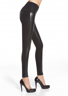 Hose Stretch Leggings figurbetont Kunstleder Fleece Röhre Treggings Ingrid