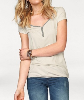 Melrose Damen Shirt Strass kurzarm Bluse Tunika Stretch creme Gr. 32 556250