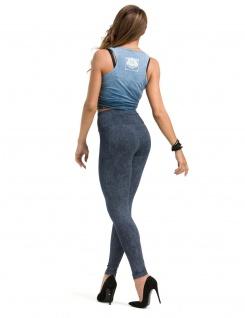 Leggings lang hoher Bund Hose Leggins gekämmte Baumwolle Muster-4-Jeans-Blau - Vorschau 2