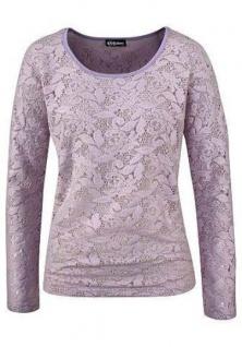 Chillytime Damen T-Shirt Spitze langarm Bluse Tunika hellflieder Gr. 38 581718