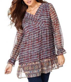 Sheego Damen Tunika langarm Shirt Bluse mehrfarbig Gr. 48 617783
