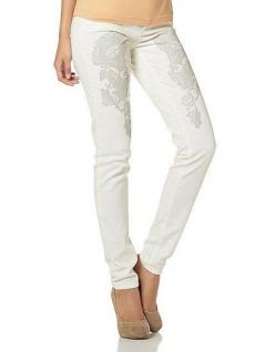 Chillytime Damen Hose Röhrenhose Röhre Jeans Chino Stretch weiß 232002 425536